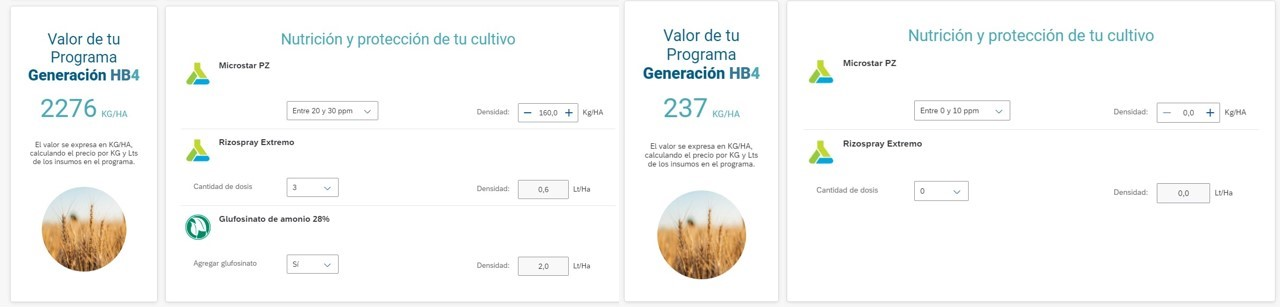 No quadro da esquerda, a informação de uso de glifosato no trigo transgênico. Logo após (quadro à direita), a informação foi retirada do ar.
