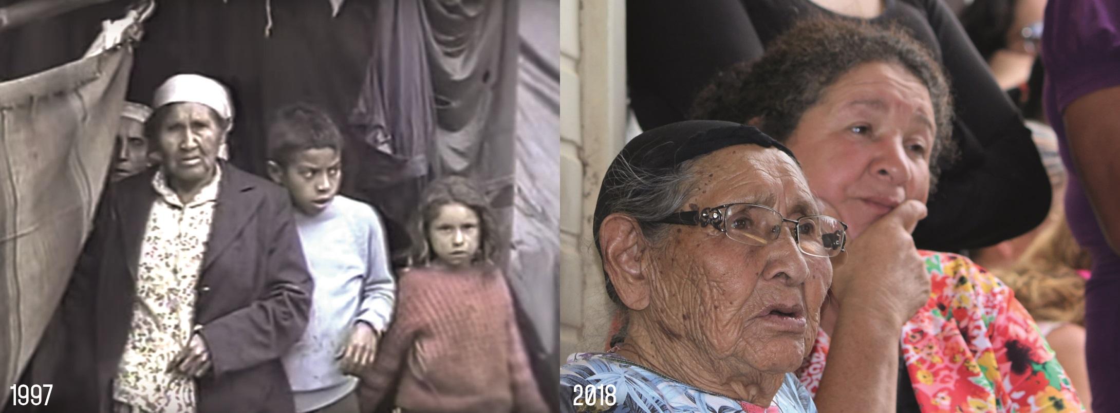 Dona Ondina Marques, uma resistente, em dois momentos: em 1997, no Barranco; em 2018, em reunião da Comunidade. Imagens: Documentario Paiol de Telha/Lizely Borges