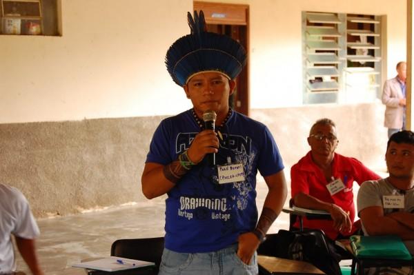 Adenilson Sousa, liderança indígena da Terra Indígena Maró, Aldeia Novo Lugar, município Santarém (Foto: Ramon Santos)