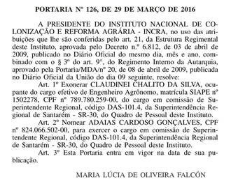 DOU portaria exoneração Chalito
