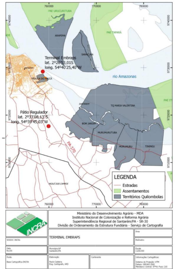 Mapa e dados extraídos do OFÍCIO/INCRA/GAB/SR(30)/N° 71/2016